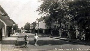 Claughton Firs, 1930's. The house at top of Bennett's Hill, destroyed in the War, was still standing