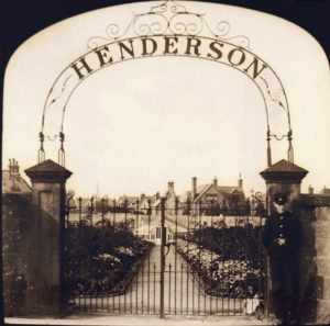 Henderson's Nursery, Village Road. An Oxton landmark from 1850 to World War II. Latterly occupied land where Talbot Court now stands