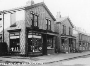 Wellington Road shops 1927. There was a draper, butcher, grocer, cycle dealer, fruiterer, chemist, confectioner, florist and dairyman