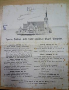 Palm Grove Opening Service 1871