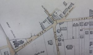 Village centre, c. 1860. Christchurch Road is shown as Church Road, and Palm Hill as Balls Lane